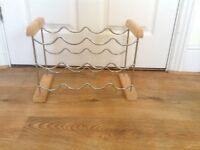 9 Bottle Chrome Folding Flat Wine Rack Wood ends - very good condition