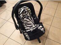 Zebra print car seat kiddy evo pro excellent condition