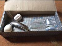 NEW Mono Basin Mixer Taps with Whisper Peach Ceramic Handles