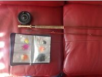 Fly fishing rod reel and flies