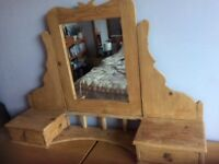 Pine dressing table mirror unit