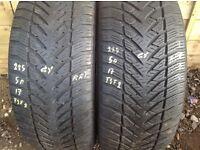 Winter tyres 225/50/17 x 2 Goodyear Runflat - £65.. unit 90 fleet road ig117bg