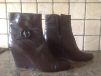 Ladies New dark brown leather ankle boots size 6