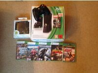 Xbox 360 console 250GB with 5 games and 2 controllers and chargers (good condition, boxed)