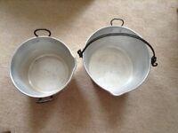 Two Aluminium Jelly Pans