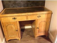 Victorian Pine Desk with leather top