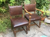 CARVED OAK DINING CHAIRS
