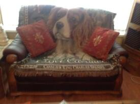 BURGUNDY LEATHER 3 seater settee 2 seater settee and 1 chair