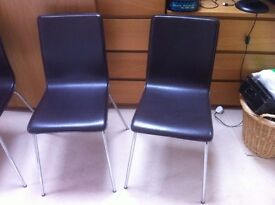 Set of 6 Brown/leather/chrome metal dining chairs