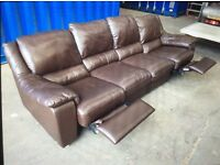 Four seater and two seater Italian leather reclining sofas dark brown 9ft long and 5ft excellent