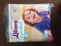 Libero size 6 nappies, brand new. £4.00 per bag. From the Tena brand.