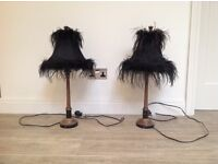 2 metal lamp stands with black feather shades