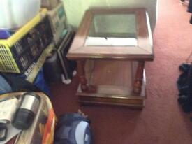 Highly polished solid wood coffee table vgc