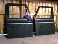 LAND ROVER 90/110 FRONT DOORS-VERY RARE ONE PIECE PANEL/SERIES HANDLES 1984-1986