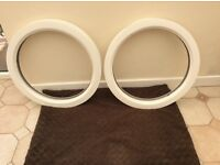 Two circular upvc window frames. Never been fitted.