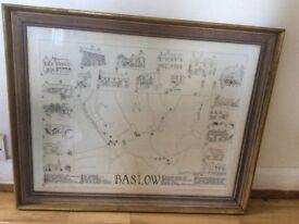 Large vintage map of baslow Derbyshire