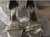 Stunning silver jewelled sandals immaculate uk 6