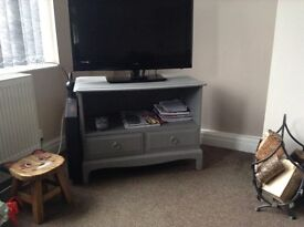 Solid wooden tv cabinet in grey shabby chic style