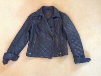 Ladies Black Faux Leather Short Biker Jacket-Size 12