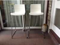 Pair of Ikea Glenn bar stools, white