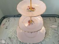 Bone China 3 Tier Cake Stand. Pale pink Floral.