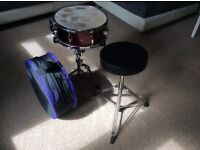 Mapex V Series Snare drum, with stand, stool and carry bag