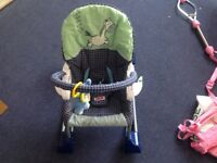Good condition pink door bouncer, soft play mat, rocking baby seat.
