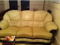 Free to collect 3 piece cream leather sofa