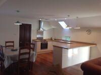 Kitchen cream gloss with oak worktop - Howdens