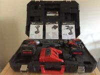 Milwaukee Heavy Duty Cordless Drill & Impact Screwdriver Set with batteries, charger & carry case