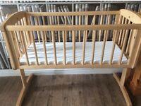 Pine swinging crib and mattress baby bedroom cot