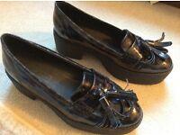 Top Shop black mock croc patent shoes