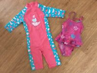 Mothercare all-in-one sun swim/beach suit + swimsuit age 3-4