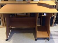 light oak coloured computer desk , solid and vgc