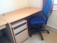 Desk,chair,drawer pedestal and 3drawer filing cabinet