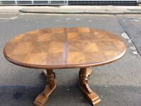 Sturdy heavy oak effect oval dining table : FREE Glasgow delivery
