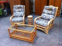 CANE CONSERVATORY THREE PIECE SUITE ~~ 2 CHAIRS & TABLE ~~ CAN DELIVER TO WEST MIDLANDS