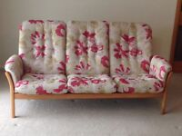 Ercol, 3-seater Saville sofa and matching easy chair. Pristine condition.