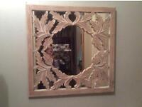 Ethnic carved wood mirror