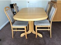 Extending Dining Table, 4 Chairs, Sideboard with Display Top