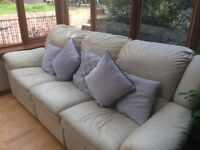 Cream Leather Sofa, 3 Seater, 2 Seater and Storage Footstool