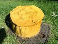 1970s miss muffet foot stool pouffe with storage inside 12 inches high 19 inches wide