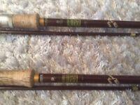 Rare vintage hardy Richard walker Carp fishing rods x 2 cork handle