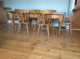 Pine farmhouse table with 6 chairs