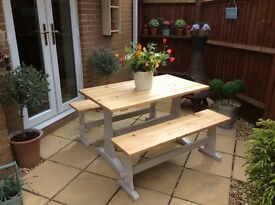Lovely Solid Pine Table and Benches