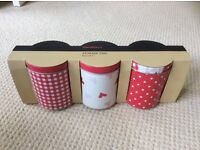 Set of 3 red storage tins - brand new