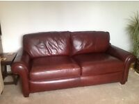 3 Seater Leather Sofa - chocolate brown