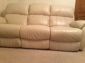 Cream Leather Reclining Sofa