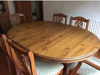 Antique Pine Table and 8 chairs