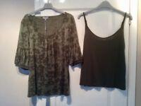 Olive Per Una Top & Vest Top Size 14
